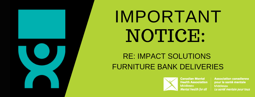 Notice Website Banner re: Impact Solutions Furniture Bank Deliveries