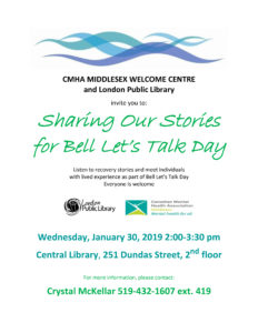 Sharing our Stories Bell Let's Talk Day poster Jan 30 2019
