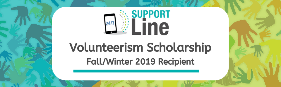 Volunteerism Scholarship Fall/Winter 2019 Recipient Banner