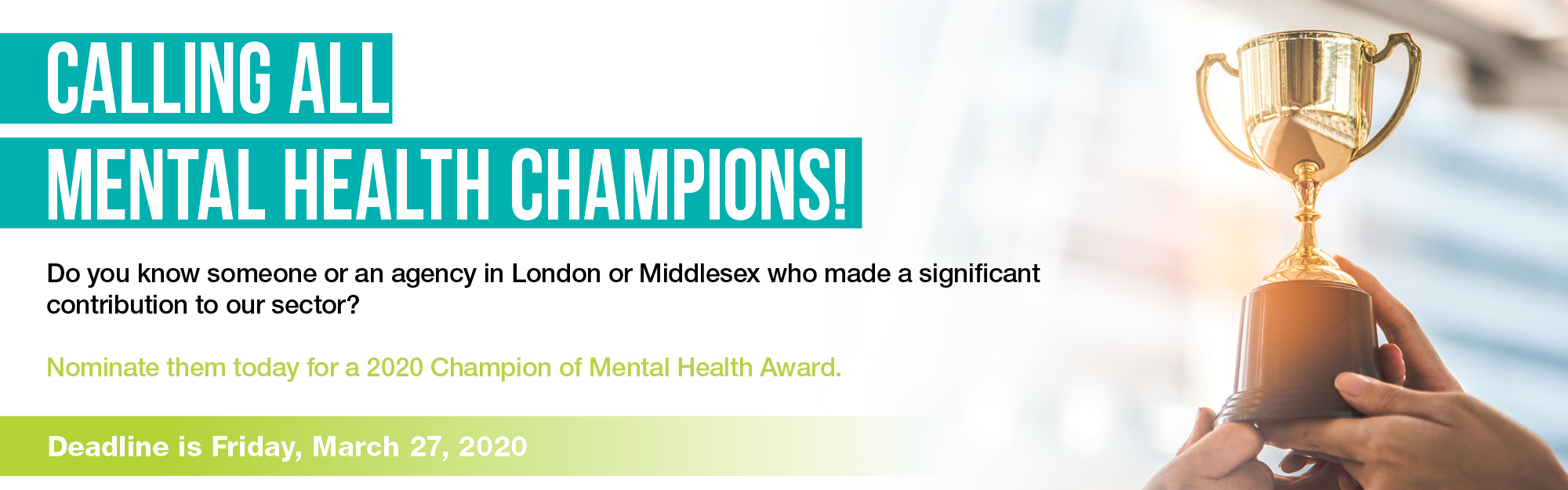 Champion of Mental Health Awards 2020 – Nominate Today