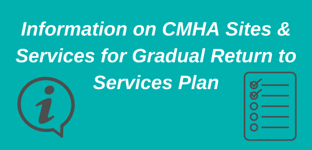 Information on CMHA sites and services for gradual return to services plan